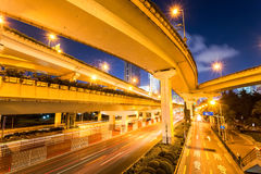 City viaduct closeup at night. City viaduct closeup, under the interchange overpass at night,shanghai, China Stock Photos