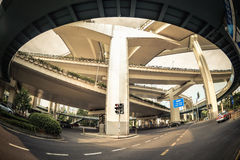 City viaduct by fisheye view Stock Photos