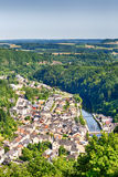 The city of Vianden with river Our and hill tops Royalty Free Stock Photos