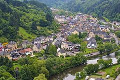 The city of Vianden and River Our, Luxembourg. Panorama of city of Vianden and River Our, Luxembourg Royalty Free Stock Photography