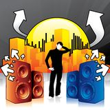 City Vibes. Modern design illustration with speakers blowing out tunes Royalty Free Stock Images