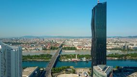 The city of Vienna as seen from Donaustadt Austria. Aerial view of Vienna and the Danube river as seen from Donaustadt, Austria stock footage
