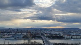 City of Vienna. Gorgeous view of Alps and astonishing clouds in Vienna can make your day Stock Image
