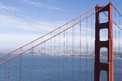 City View. A view of San Francisco through the cables of the Golden Gate Bridge Royalty Free Stock Photography