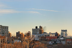 City View. Roofline view of the Lower East Side in New York City with plenty of space in the sky Stock Photo
