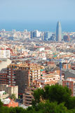 City view. Aerial view of city of Barcelona, Spain, from Park Guell Royalty Free Stock Photography