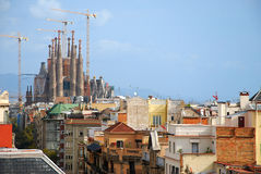 City view. View of Sagrada Familia in the city of Barcelona, Spain, from La Pedrera roof Royalty Free Stock Image