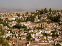 City view. Traditional houses on a hill in Granada Royalty Free Stock Photo