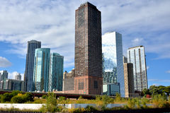 City view along Chicago river. In Chicago at North Michigan Avenue and the Michigan Avenue. Chicago, Illinois, United States Royalty Free Stock Photography