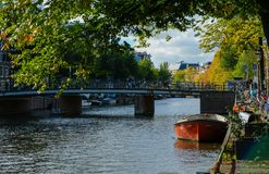 City view of Amsterdam with bridges royalty free stock photos