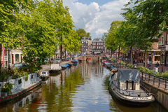 City view of Amsterdam canal, Holland, Netherlands. Royalty Free Stock Photography