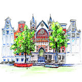City view of Amsterdam canal, houses and church. Color hand drawing, city view of Amsterdam typical houses, canal and church, Holland, Netherlands. Picture made Royalty Free Stock Photography