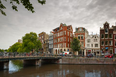 City view of Amsterdam canal Singel and typical houses, Holland, Stock Photography
