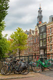 City view of Amsterdam canals and typical houses, Holland, Nethe Royalty Free Stock Image
