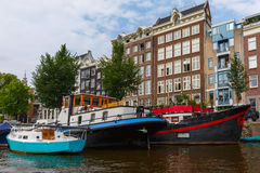 City view of Amsterdam canals and typical houses, Holland, Nethe Royalty Free Stock Photo