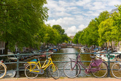 City view of Amsterdam canals and typical houses, Holland, Nethe Royalty Free Stock Images