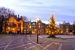 City view in Amsterdam Netherlands. City view from Amsterdam at christmastime in the Netherlands at twilight Stock Image