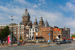 City view of Amsterdam street and Weeper's Tower, Holland, Nethe Royalty Free Stock Photo