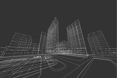 City view, architecture abstract, 3d illustration. Architecture abstract, 3d illustration,Architecture drawing building structure Stock Images