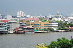 City View of Bangkok from the Chao Phraya river Royalty Free Stock Photo