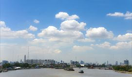 City View of Bangkok from the Chao Phraya river stock photography