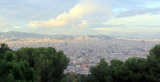 City view of Barcelona. View of Barcelona from Monteijuc hill royalty free stock images