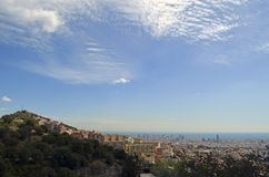 Barcelona, Spain cityscape view from Antoni Gaudi s Park Guell,. City view of Barcelona, Spain landscape view from Antoni Gaudi s Park Guell in Barcelone Spain royalty free stock photo