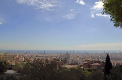 Barcelona, Spain cityscape view from Antoni Gaudi s Park Guell,. City view of Barcelona, Spain landscape view from Antoni Gaudi s Park Guell in Barcelone Spain stock images