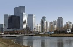 City view of Beijing. Sunny iluminated part of the Beijing skyline in China Royalty Free Stock Photography