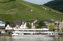 City view Bernkastel with vineyards and cruise ship Stock Images