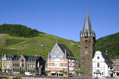 City view of Bernkastel with vineyards on Moselle Stock Photography
