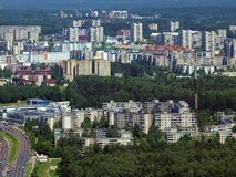 The city view from bird eye. City aerial view. Lithuanian capital Vilnius Royalty Free Stock Image