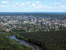 The city view from bird eye. City aerial view. Lithuanian capital Vilnius Royalty Free Stock Photo