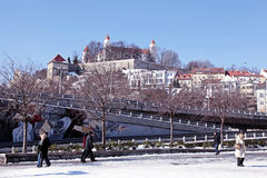 City view with Bratislava castle on the hill Royalty Free Stock Image