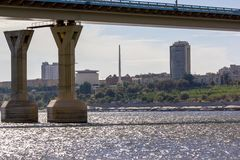 City view and bridge over the river Royalty Free Stock Images