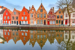 City view of Bruges canal with beautiful houses Stock Photos