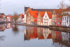 City view of Bruges canal with beautiful houses Royalty Free Stock Photography