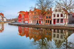 City view of Bruges canal with beautiful houses Royalty Free Stock Photo