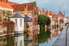 City view of Bruges canal with beautiful houses Stock Image