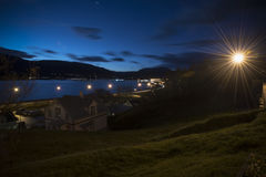 City view with car  lightlail on road the winter night, Akureyri, Royalty Free Stock Photos