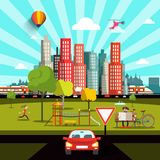 City View with Car, Road, People and Skyscrapers. Town Park Stock Illustration