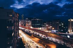 City View With Car Time Lapsed royalty free stock photo