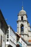 City view with the church Igreja Santa Maria in Vigo. Spain, Pontevedra province, region Galicia, city Vigo. In the historic center, downtown, old town, of this Royalty Free Stock Photos