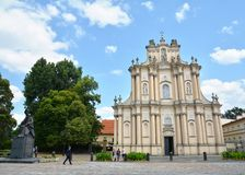 City view with the Church of St. Joseph of the Visitationists. WARSAW, POLAND - JUNE 29, 2018. City view with the Church of St. Joseph of the Visitationists in stock images