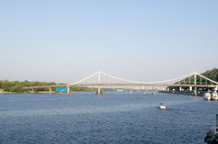 City view on Dnipro river in Kyiv Royalty Free Stock Images