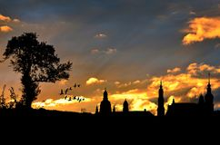 City View, Evening Sky, Silhouette Stock Images
