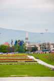 City view from flower garden near Bandiceve fountains. ZAGREB, CROATIA - April 12, 2014 - City view from flower garden near Bandiceve fountains Stock Image