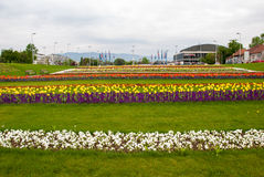 City view from flower garden near Bandiceve fountains. ZAGREB, CROATIA - April 12, 2014 - City view from flower garden near Bandiceve fountains Royalty Free Stock Images