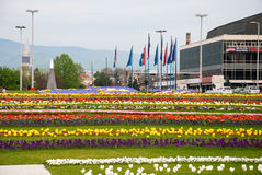 City view from flower garden near Bandiceve fountains. ZAGREB, CROATIA - April 12, 2014 - City view from flower garden near Bandiceve fountains Royalty Free Stock Photos