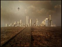 City view with a flying airship Royalty Free Stock Image